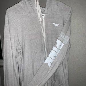 PINK grey zip up hoodie